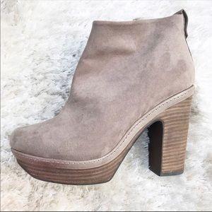 ZARA Platform Heeled Suede Boots